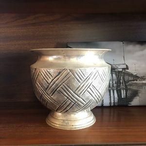 Vintage Silver Plated Pot Planter Vase Vessel